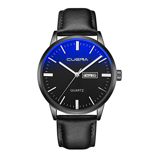 NXDA Luxury fashion men's quartz analog watch blue glass artificial leather strap watch dial dial can display date (B)