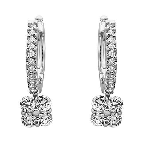 Olivia Paris 14k White Gold Square Cushion Diamond Drop Earrings (1 cttw, H-I, I1)