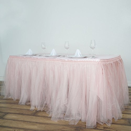 Efavormart 14 FT Blush Two Layered Tulle Tutu Wedding Party Banquet Table Skirt with Satin Edge for Dining Catering Wedding