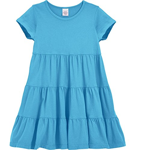 City Threads Little Girls' Super Soft Cotton Short Sleeve Tiered Dress For School Park Play and Party, Turquoise, 4 -