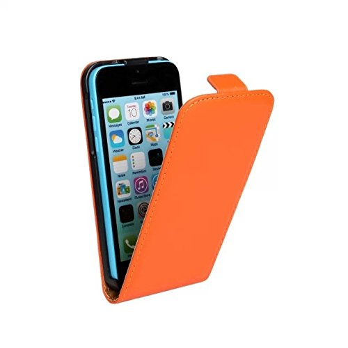 MOONCASE Leder Tasche Flip Case Cover Schutzhülle Etui Hülle Schale Für Apple iPhone 5C Orange