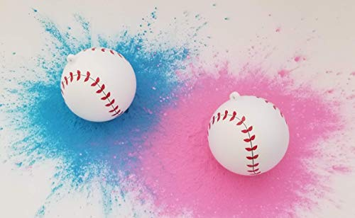 Gender Reveal Baseball Set Vibrant Pink and Blue Powder | 20 Team Stickers: Sex Reveal Party | Team Girl (Pink) Team Boy (Blue) - Baby Gender Reveal Smoke Bombs | Party Supplies & Ideas -
