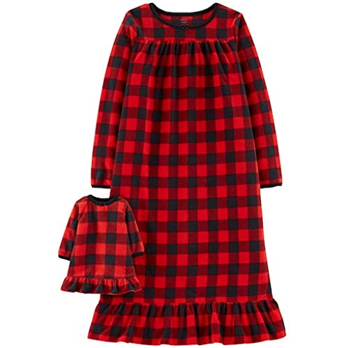 Carter's Girls Microfleece Nightgown and Doll Gown (4-5, Red/Black)