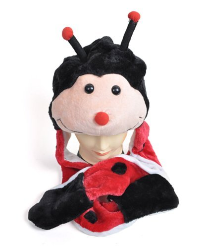 Plush Animal Winter Hats with Paws, Long Mittens - Many Different Animals, LadyBug ()