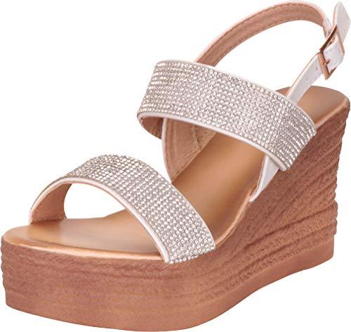 Cambridge Select Women's Crystal Rhinestone Slingback Chunky Platform Wedge Sandal,7 B(M) US,White -