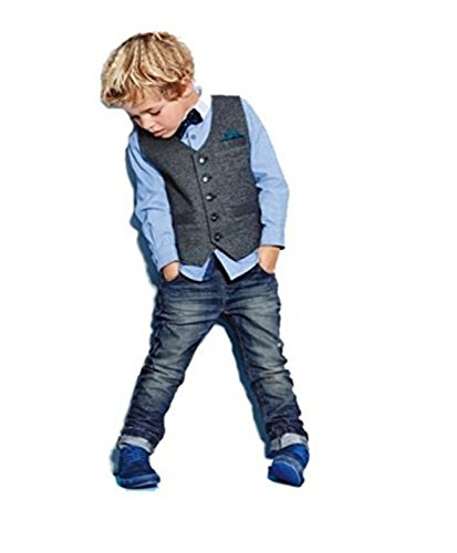 Kids Boys Gentleman Outfits Wedding Formal Wear Bowtie Shirt+Vest+Jeans Clothing Set (5T, Blue) by ZIYOYOR