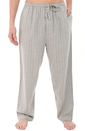Stripe Pajama Bottoms (Alexander Del Rossa Mens Flannel Pajama Pants, Long Cotton Pj Bottoms, Medium Grey Pinstripe (A0705V82MD))