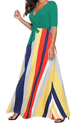 Belted Long Half Floral Pinstripe Green V Dress Maxi Coolred Stitch Women Neck Sleeve wa5qUx0nz