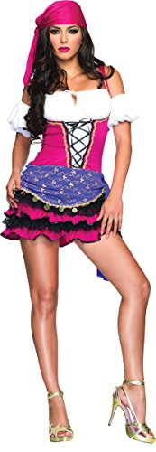 Leg Avenue Women's 3 Piece Gypsy Costume, Black/White, Small/Medium