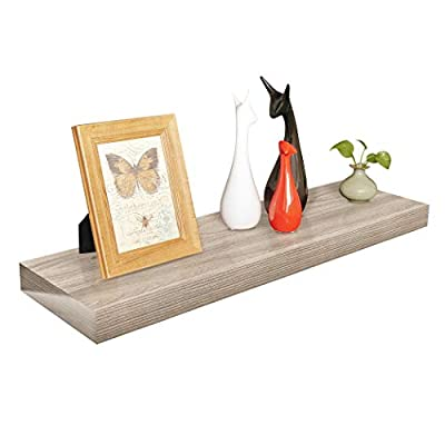 "Homewell Wood Floating Shelves for Home Decoration, 36""x9.25""x2"", Grey - Material: MDF, Size: 36"" (L) x 9.25"" (W) x 2"" (T), net weights: 5.67lbs Robust metal mounting bracket rod (diameter: 3/4"") and metal anchor can hold the shelf panel steady. No visible screw or support bracket, make the shelf appear to be floating. - wall-shelves, living-room-furniture, living-room - 41vx0LsKGRL. SS400  -"
