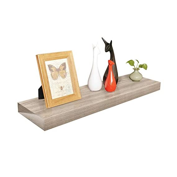 "Homewell Wood Floating Shelves for Home Decoration, 36""x9.25""x2"", Grey - Material: MDF, Size: 36"" (L) x 9.25"" (W) x 2"" (T), net weights: 5.67lbs Robust metal mounting bracket rod (diameter: 3/4"") and metal anchor can hold the shelf panel steady. No visible screw or support bracket, make the shelf appear to be floating. - wall-shelves, living-room-furniture, living-room - 41vx0LsKGRL. SS570  -"
