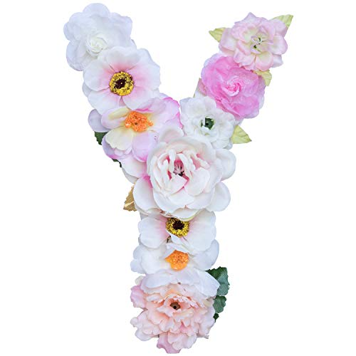 - Artificial Ornaments Floral Letter Pink Theme,8.3x5.9x0.6in, Hang on Front Door and Wall, Home Decoration, Suit For Baby Shower, Anniversary, Birthday Party, Baby Room, Wall Ornament (1 Letter, Y)