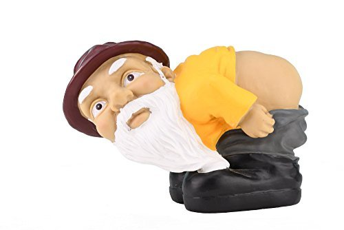 Yard Ornament - Fun Mooning Garden Gnome Figurine for Decoration at Home, Garden, Backyard and More
