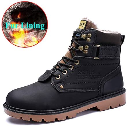 Mens Warm Winter Snow Boots Slip on,Ankle Bootie,Outdoor Water-Resistant Fur Lined Lightweight Casual High Top Shoes,High-Traction Grip,Rubber Sole