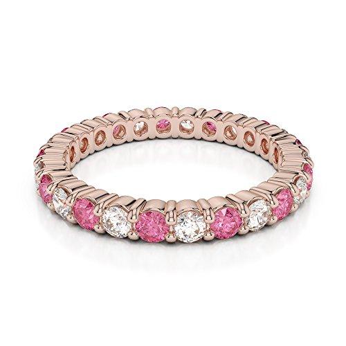 Or Rose 18carats 1/2ct G-H/VS Certifié Coupe ronde Tourmaline Rose et diamant éternité Bague Agdr-1111