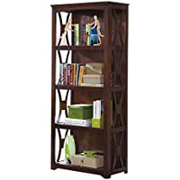 Ashley Furniture Signature Design - Devrik Bookcase - 4 Shelves - Curved Side Crossbars - Contemporary - Brown