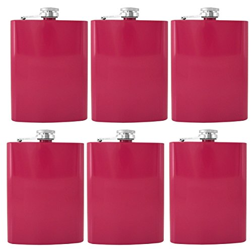 Gifts Infinity Stainless Steel Hip Flask Assorted Colors, 8oz, (Pink Set of 6) ()