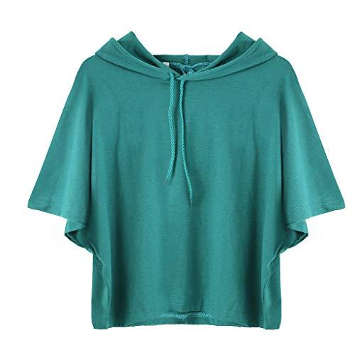 Couleur Crop Femme Top Bleu Tunique Été Capuche Unie Casual Veste shirt Poachers sweat Tee Court À Mode Manche Courte T shirt F1waq70