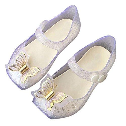 Zhuhaixmy Baby Jungen Anti-Rutsch Bowknot Lässige Weich Gelee Ballett Flache Schuhe Kleinkind Kinder Beach Stranden Regen Stiefel Silber