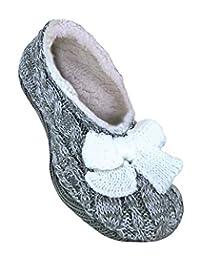 Jennifer Anderton - Womens Knit Faux Fur Non Skid Slipper Socks With Grippers