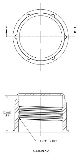 Caplugs 99190890 Threaded Plastic Cap for Flared JIC Fittings, Plastic, To Fit Thread Size 1-3/4-12'', CD-22, Red (Pack of 200) by Caplugs (Image #1)