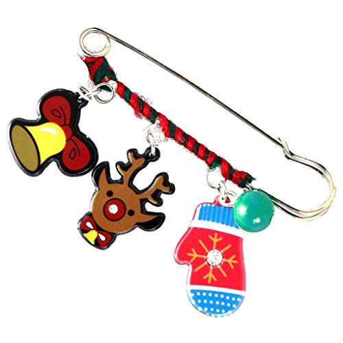 Cartoon Acrylic Charms Christmas Kids Sweater Scarf Safety Brooch Collar Pin | Color - Hat Mitten ()