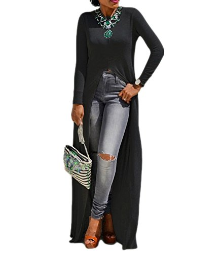 - Womens Sexy High Front Split Long Sleeve Crewneck Clubwear Cocktail Maxi Dress Black 3XL
