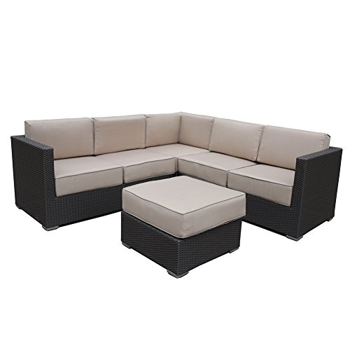 Abba Patio 4 Pcs All-Weather Outdoor Wicker Sofa Sectional Set Patio Furniture Sets with Cushions