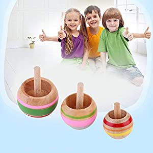 YUIO Novelty Attractive3pcs FunnyWooden Colorful Spinning Top Kids Wood Children's Party Toy Perfect For Gift…