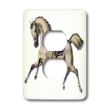 lsp_180190_6 BLN Victorian Pets and Animals Collection - Victorian White Horse Galloping Wearing a Blue Blanket Saddle - Light Switch Covers - 2 plug outlet cover