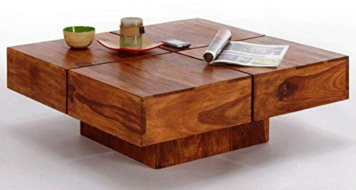 MP Enterprieses Sheesham Wooden Square Coffee Table for Living Room – Teak Finish
