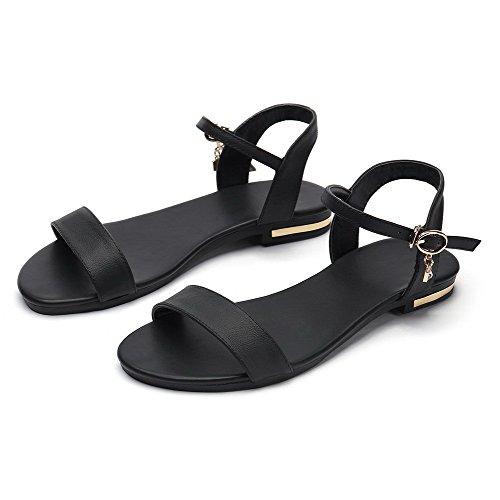 VogueZone009 Mujeres Hebilla Mini Tacón Sólido Puntera Abierta Sandalias de vestir Negro