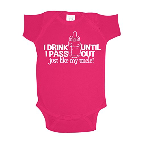 The Shirt Den I Drink Until I Pass Out Just Like My Uncle Baby One Piece 18 mo Cyber Pink