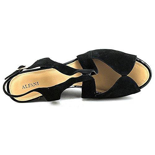 Sandali A Piattaforma Casual Alfani Donna In Pelle Con Punta Aperta Neri