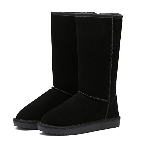 The winter snow boots warm non slip shoes code thickened high boots tube,44 black by ZRLsly