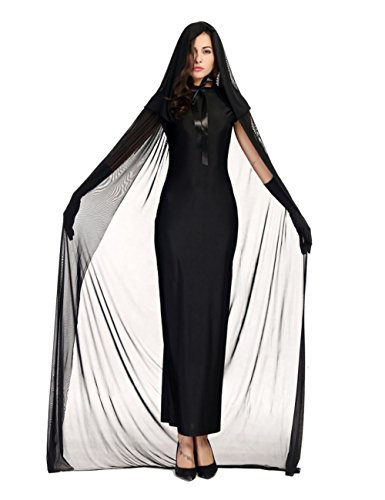 Colorful House Women's Halloween Costume Black Ghost Zombie Dress Cloak Outfit, Size M,US 4-10