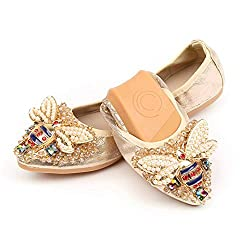 Metal Sequins Rhinestone Flat Ballet Shoes