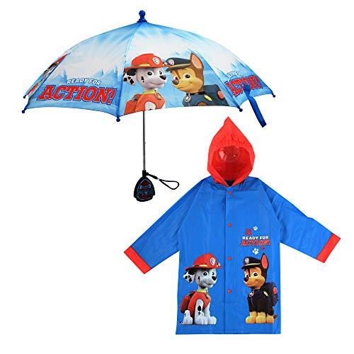 Nickelodeon Boys' Little Paw Patrol Character Slicker and Umbrella Rainwear Set, Light Blue, Age 6-7