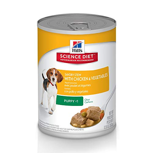 Hill's Science Diet Canned Dog Food, Puppy, Savory Stew with Chicken & Vegetables, 12.8 oz, 12-pack