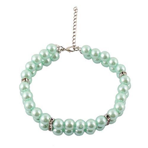 ... Circunferencia del gato del perro plástico perlas de imitación de Diamantes de imitación de la chispa del corchete DE 2 filas Para mascotas Collar Azul ...