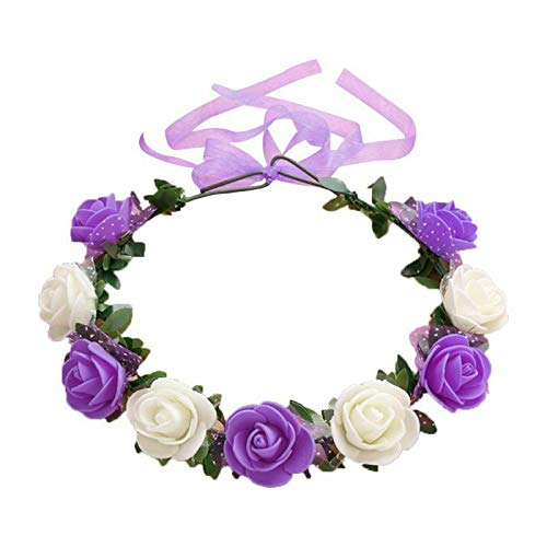 17 Colors Travel Bridal Artificial Foam Rose Flower Wreath Ribbon Headpiece (Color - 11# - Foam Hawk Football
