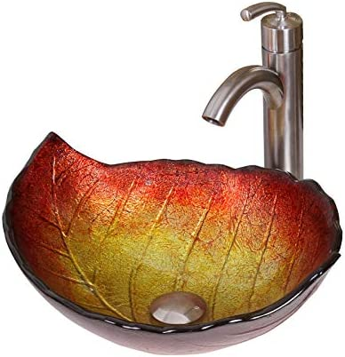 ELITE Summer Leaves Design Tempered Glass Bathroom Vessel Sink Brushed Nickel Single Lever Faucet