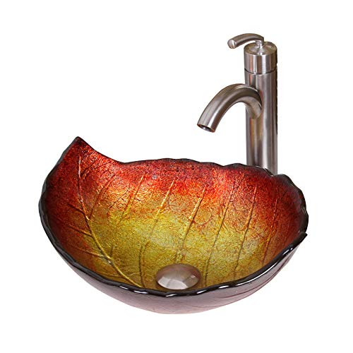 ELITE Summer Leaves Design Tempered Glass Bathroom Vessel Sink & Brushed Nickel Single Lever Faucet