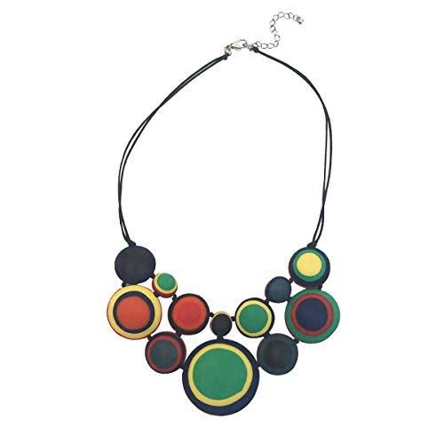 (Ruby Olive Women's Hand Poured Double Sided Reversible Multicolored and Red Disc Collar Necklace)