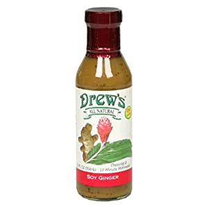 Drew's All-Natural Salad Dressing and 10 Minute Marinade, Soy-Ginger, 12-Ounce Bottle