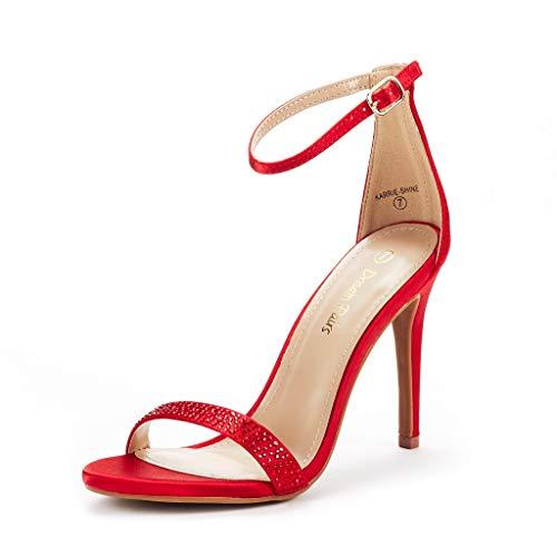 DREAM PAIRS Women's Karrie-Shine Red High Stiletto Pump Heel Sandals Size 8.5 B(M) US -