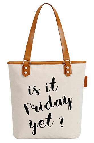 So'each Women's Is It Friday? Letters Canvas Tote Pearly Top Handle Shoulder Bag