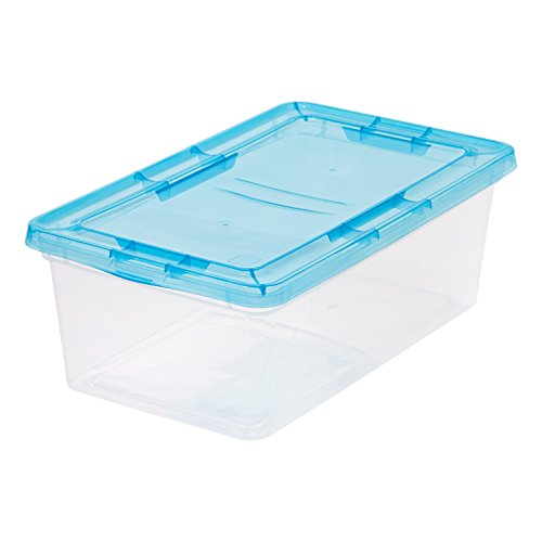 IRIS 6 quart Clear Storage Box with Teal Lid, 6 Pack