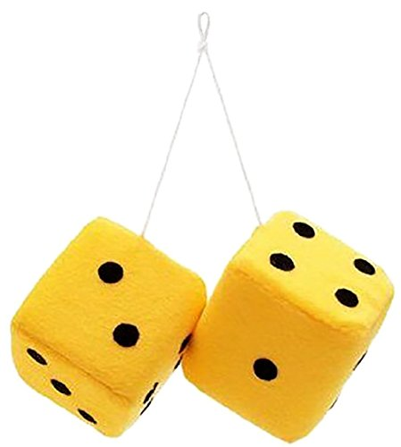 Aokostar Pair of 3 Inch Hanging Fuzzy Dice with Various Colors (Yellow) -