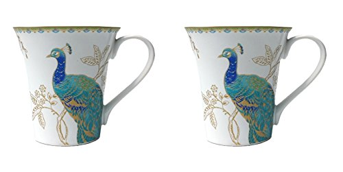 222 Fifth Peacock Garden Porcelain Coffee Mugs, Set of 2